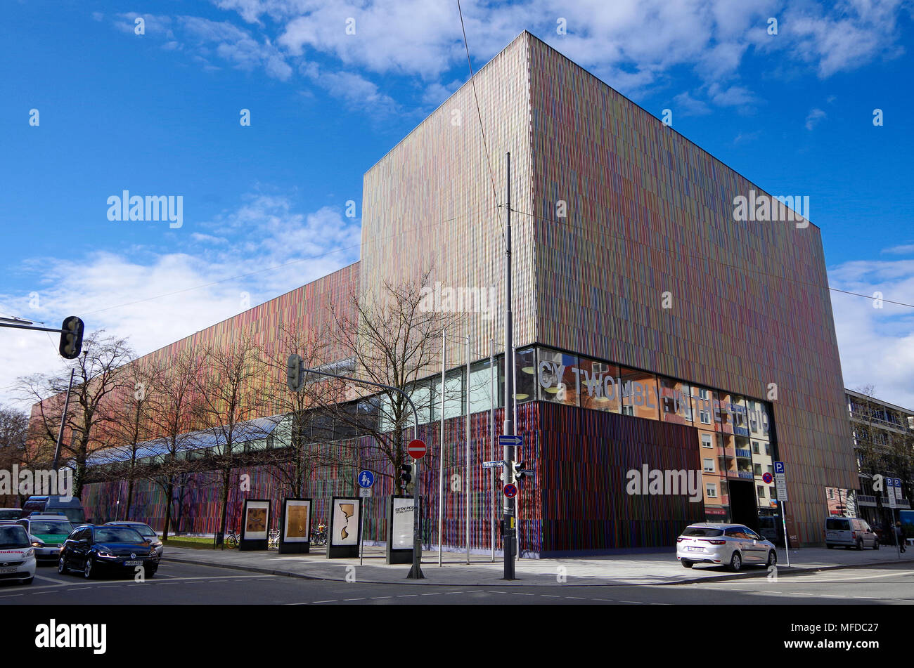 The Museum Brandhorst, in Munich, opened in 2009, housing collection of modern art, extraordinary multi-coloured facade, - Stock Image