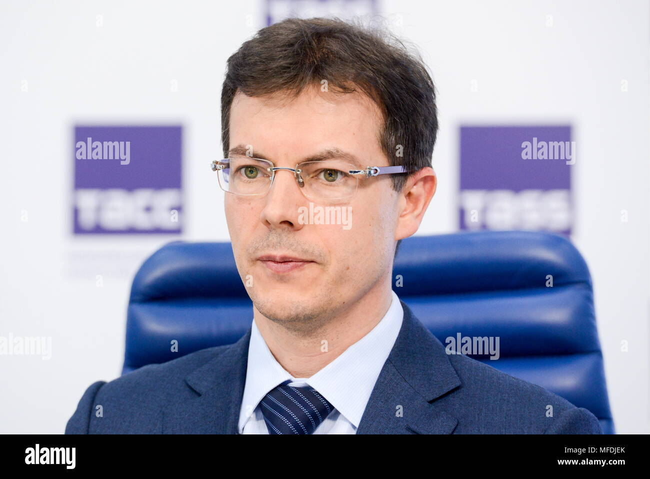 MOSCOW, RUSSIA - APRIL 25, 2018: Maxim Protasov, head of the autonomous non-commercial organization 'Russian Quality System' (Roskachestvo), at a press conference at the Moscow office of the TASS news agency about the Ty Predprinimatel [You Are an Entrepreneur] Programme by Russia's Federal Agency for Youth Affairs; the aim of the programme is to offer support to young people who start their businesses. Nikolai Galkin/TASS - Stock Image