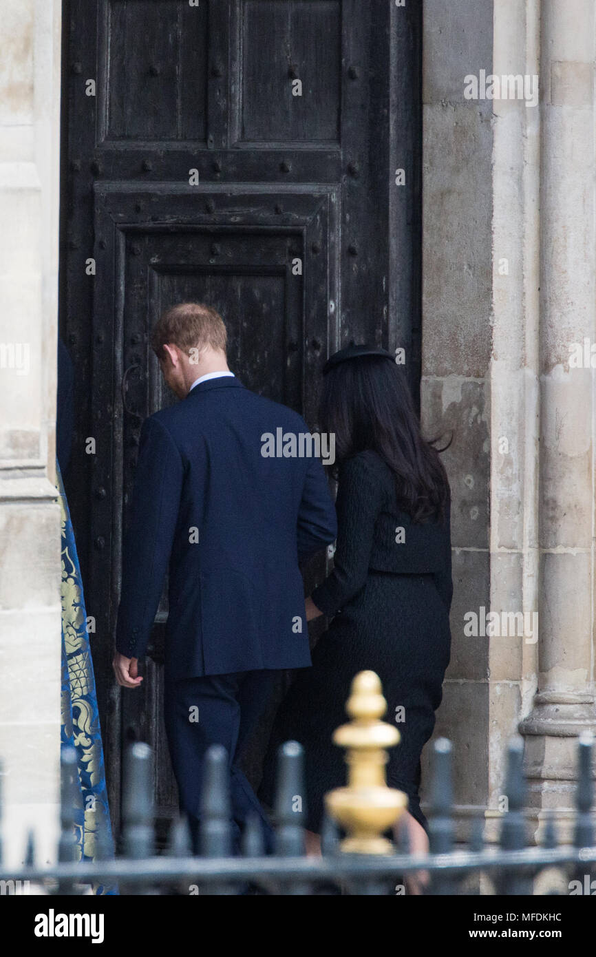 London, UK. 25th April, 2018. Prince Harry and Meghan Markle arrive at Westminster Abbey for the Anzac Day service of thanksgiving and commemoration. Credit: Mark Kerrison/Alamy Live News Stock Photo