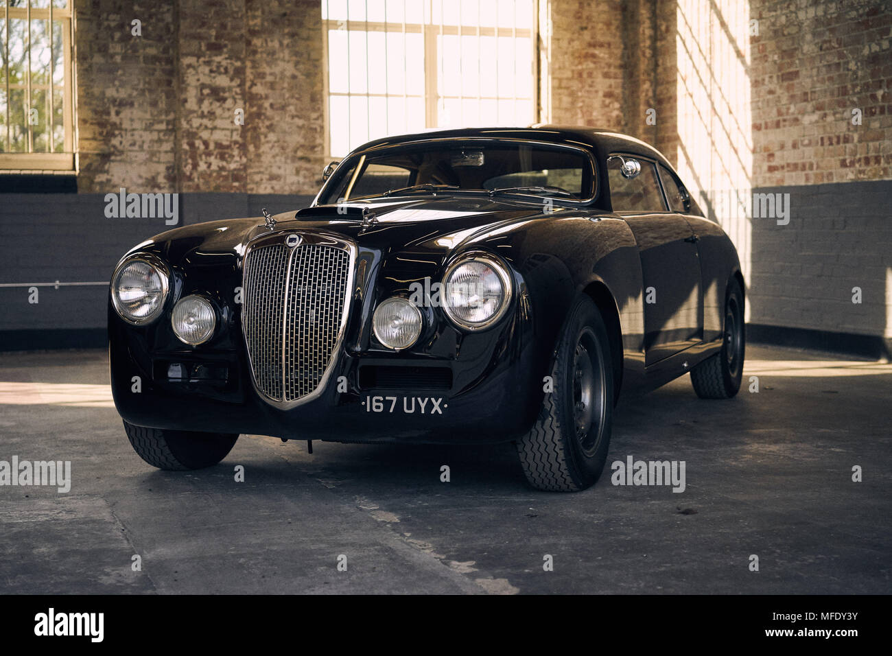 Black Lanica Aurelia B20GT Outlaw at Bicester Heritage Stock Photo