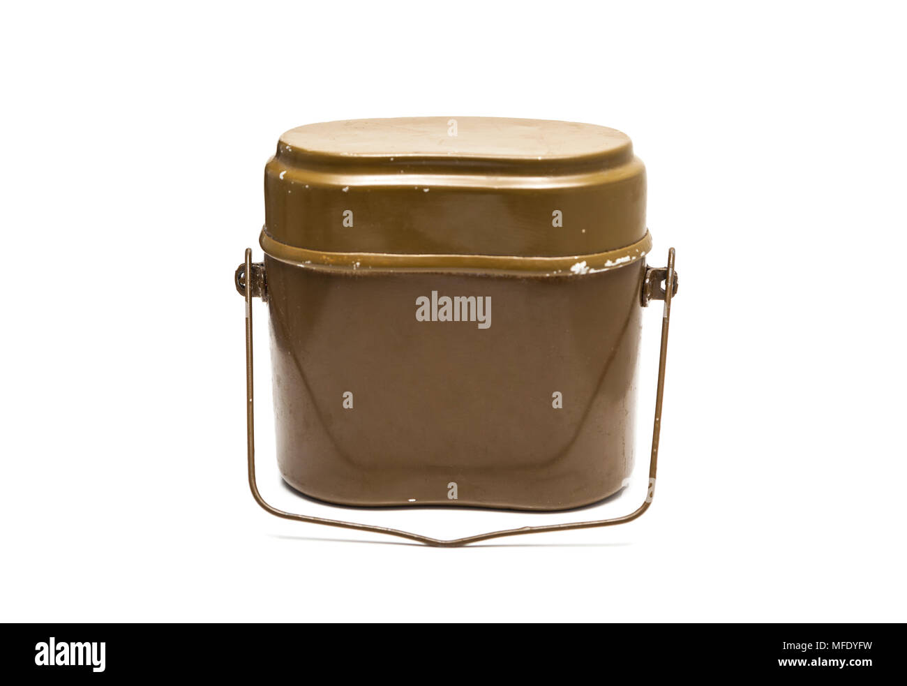Soviet Army mess kit cooking pot isolated on white background - Stock Image