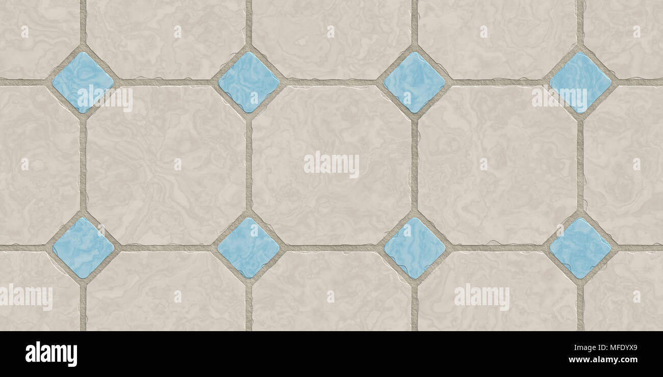Beige Blue Seamless Classic Floor Tile Texture. Simple Kitchen, Toilet Or  Bathroom Mosaic Tiles Background. 3D Rendering. 3D Illustration.