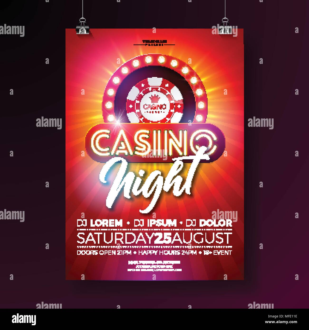 Vector casino night flyer illustration with gambling design elements vector casino night flyer illustration with gambling design elements and shiny neon light lettering on red background luxury invitation poster template stopboris Choice Image