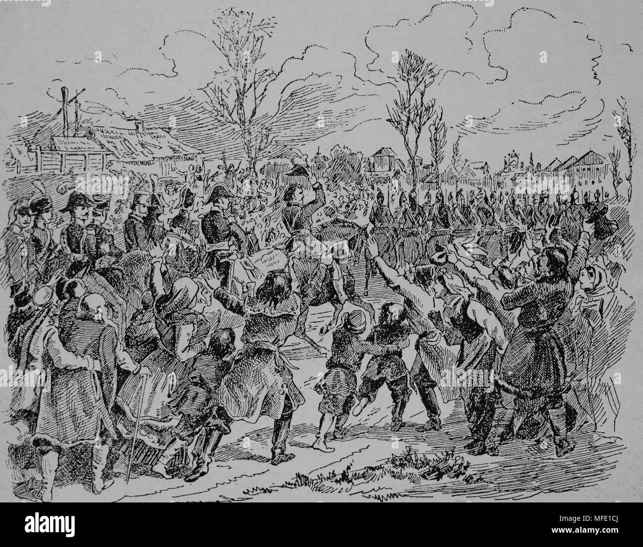 Nov. 1806 Murat enters Warsaw, Poland. The poles receive the French army of Napoleon as their liberator. Engraving, 19thc - Stock Image