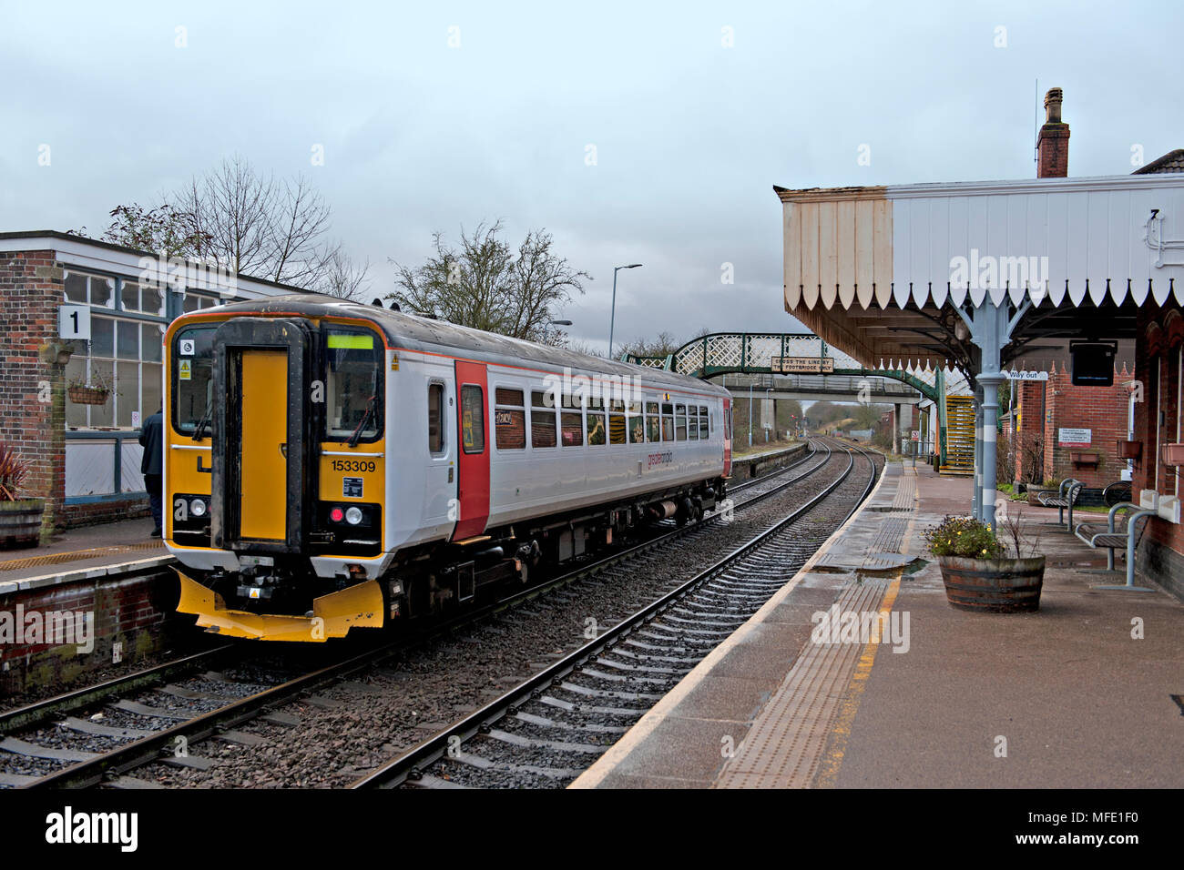 Acle railway station on the Wherry lines between Norwich and Great Yarmouth in Norfolk, UK - Stock Image