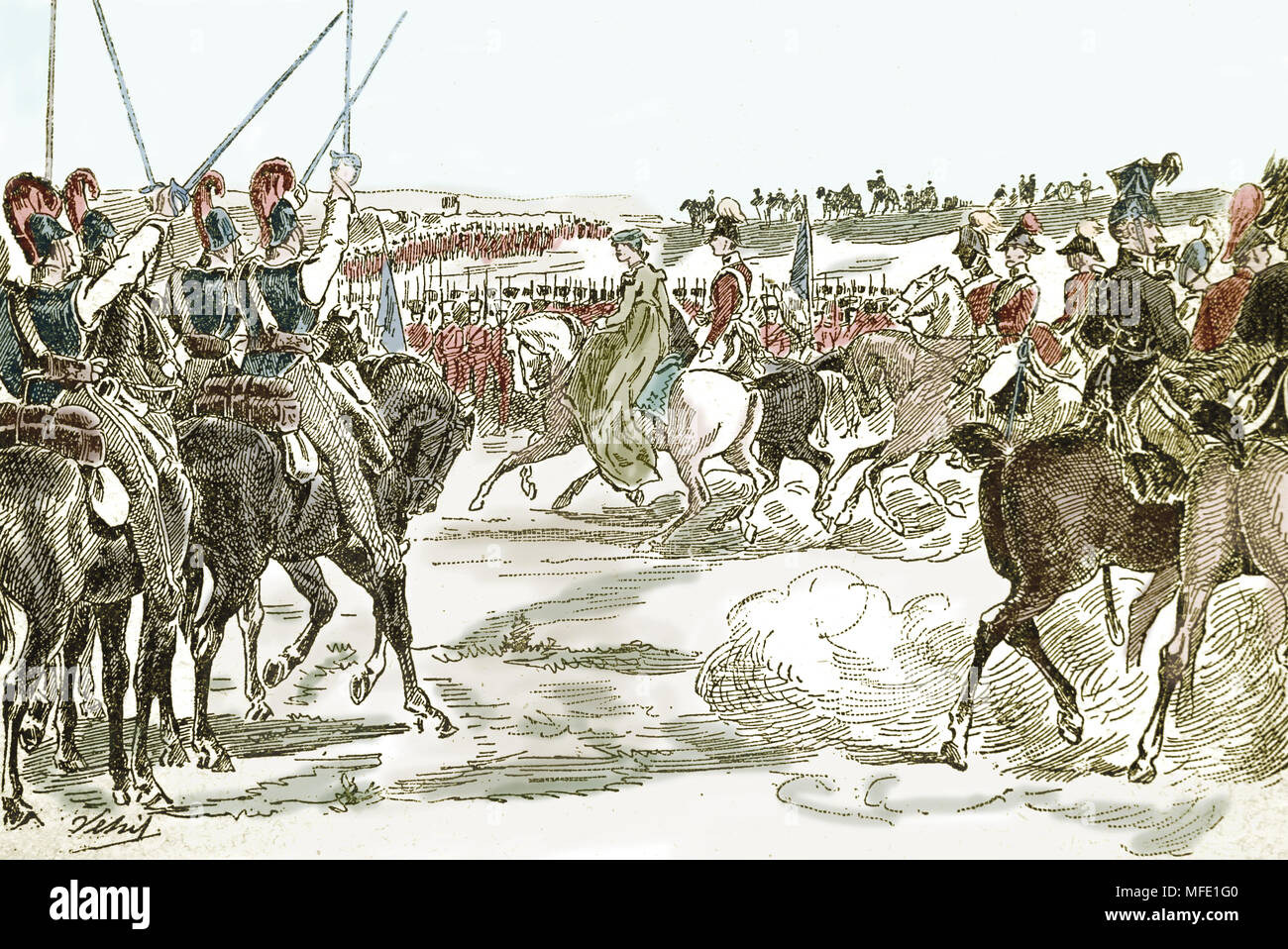 War of the fourth coalition. Battle of Jena, 1806. Queen Louise of Prussia visiting the troops. Engraving, 19th century. - Stock Image