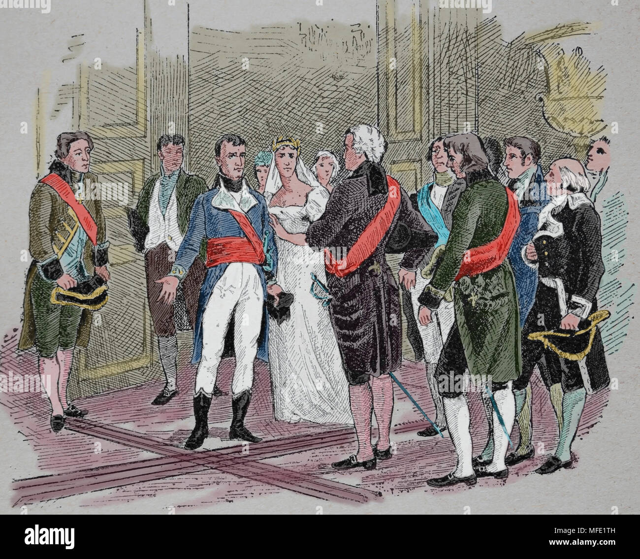 Meeting between Napoleon and Lord Whitworth, 18 February, 1803. Napoleon lambasted the British ambassador.France. - Stock Image