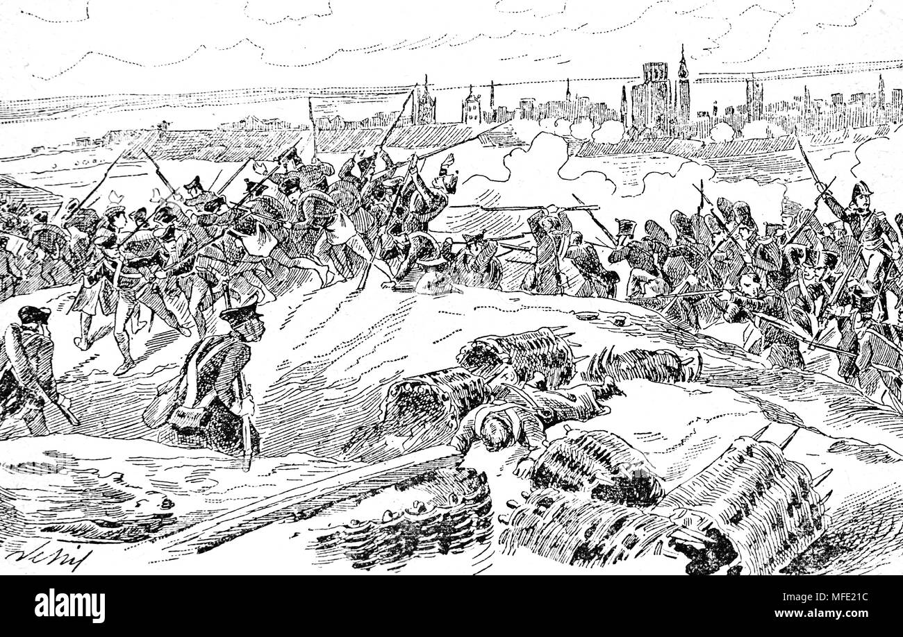 Siege of Danzig (1807) old Prussia (today Poland). War of the Fourth Coalition. Napoleonic Wars. Engraving, 19th century. - Stock Image