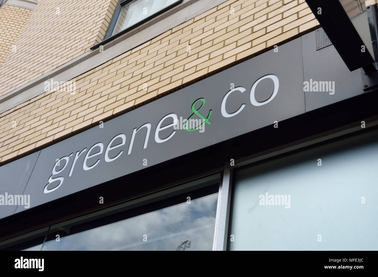 Greene and Co estate agent sign - Stock Image