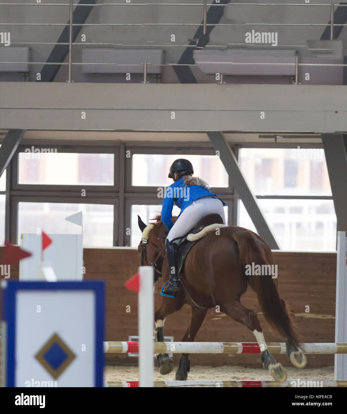 Rider performing jump on bay horse over a hurdle - Stock Image