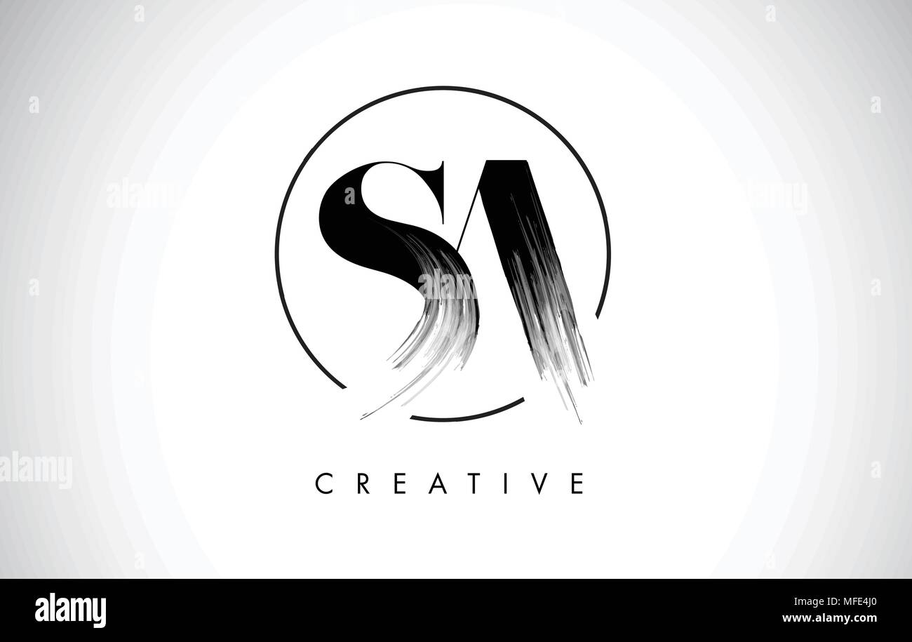 SA Brush Stroke Letter Logo Design. Black Paint Logo Leters Icon with Elegant Circle Vector Design. - Stock Vector