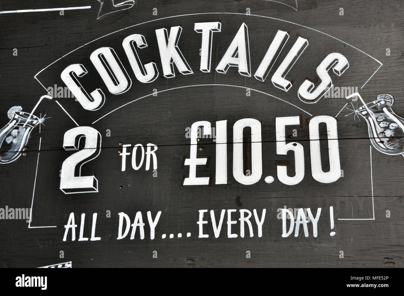 Cocktails special offer promotion outside a pub - Stock Image