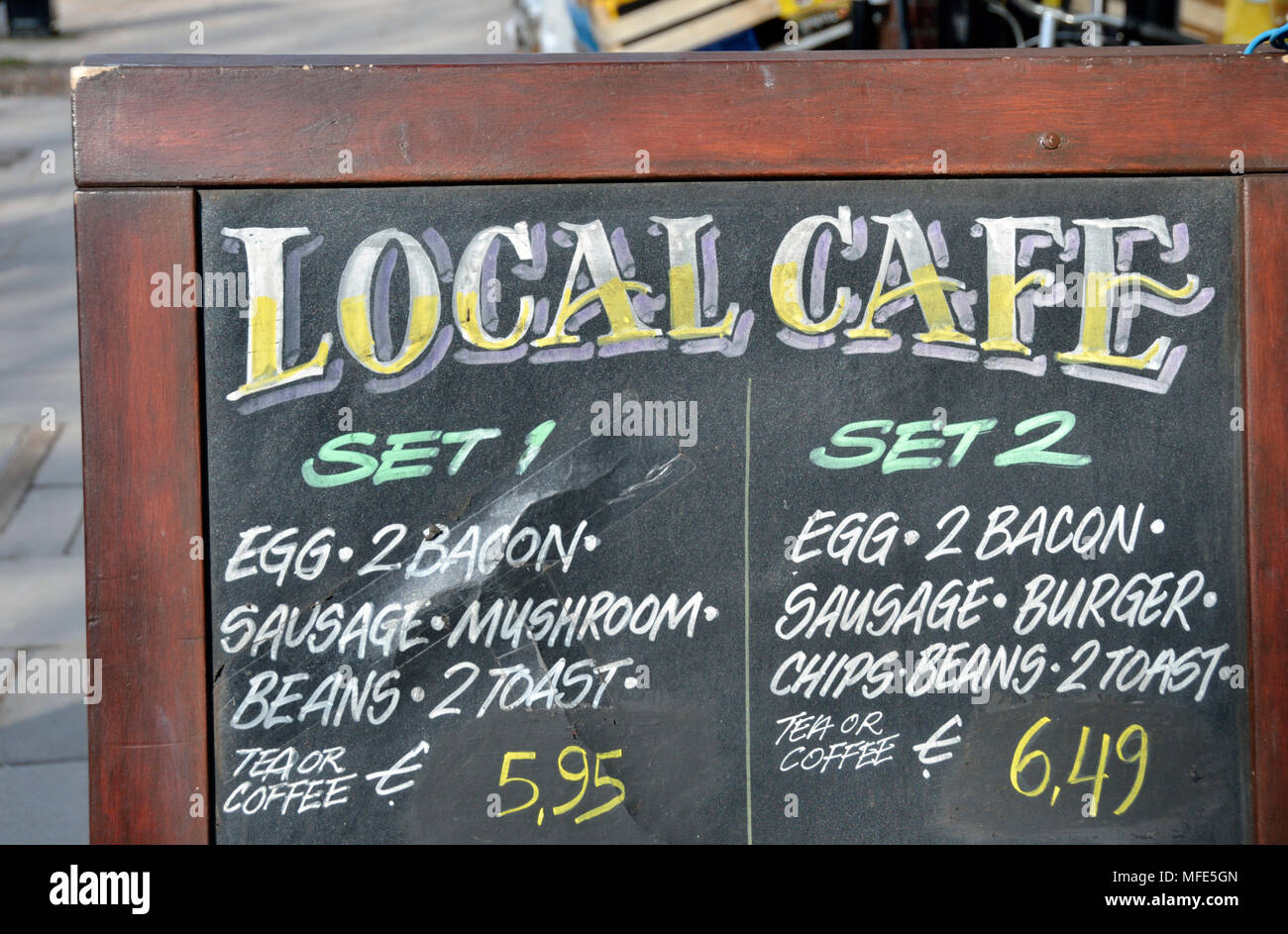 'Local Cafe' board / sign promoting set menus - Stock Image