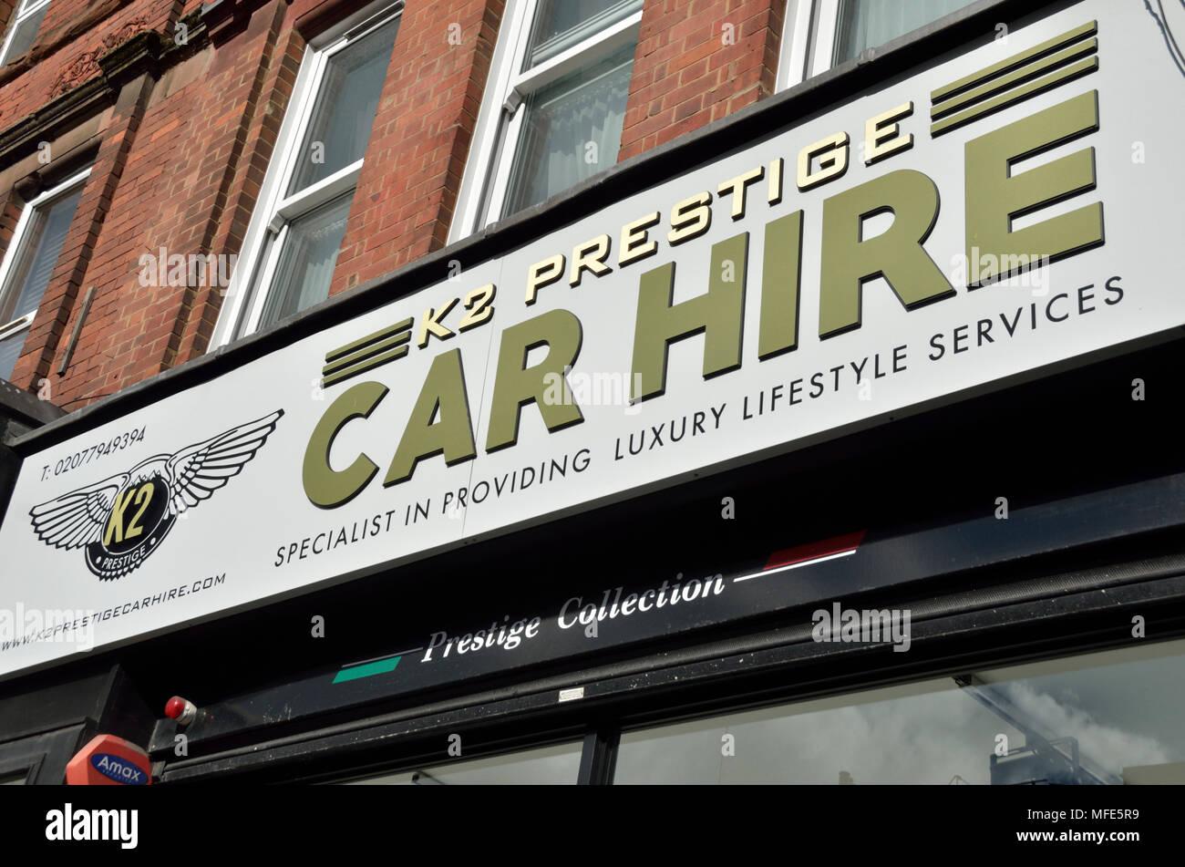 Prestige Car Hire shop front sign. - Stock Image
