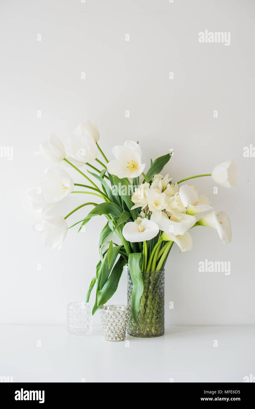 Large Bouquet Of White Spring Flowers In A Vase Daffodils Tulips
