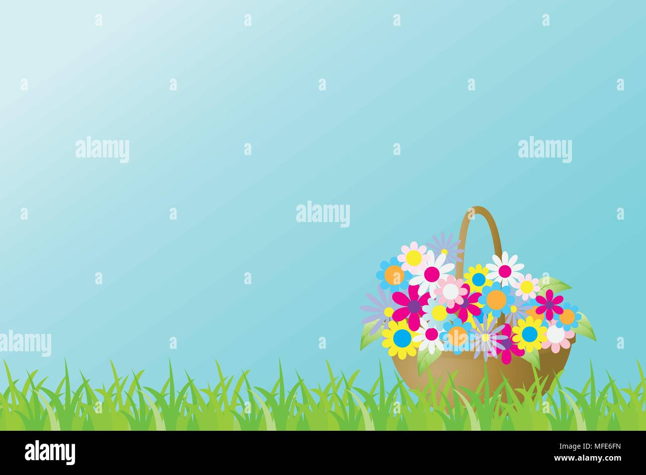 Vector illustration with a basket of brighte spring flowers of a green grass - Stock Vector