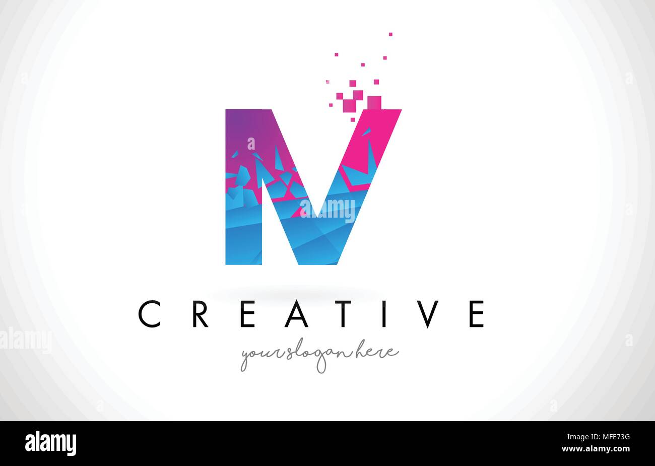 IV I V Letter Logo with Broken Shattered Blue Pink Triangles Texture Design Vector Illustration. - Stock Vector