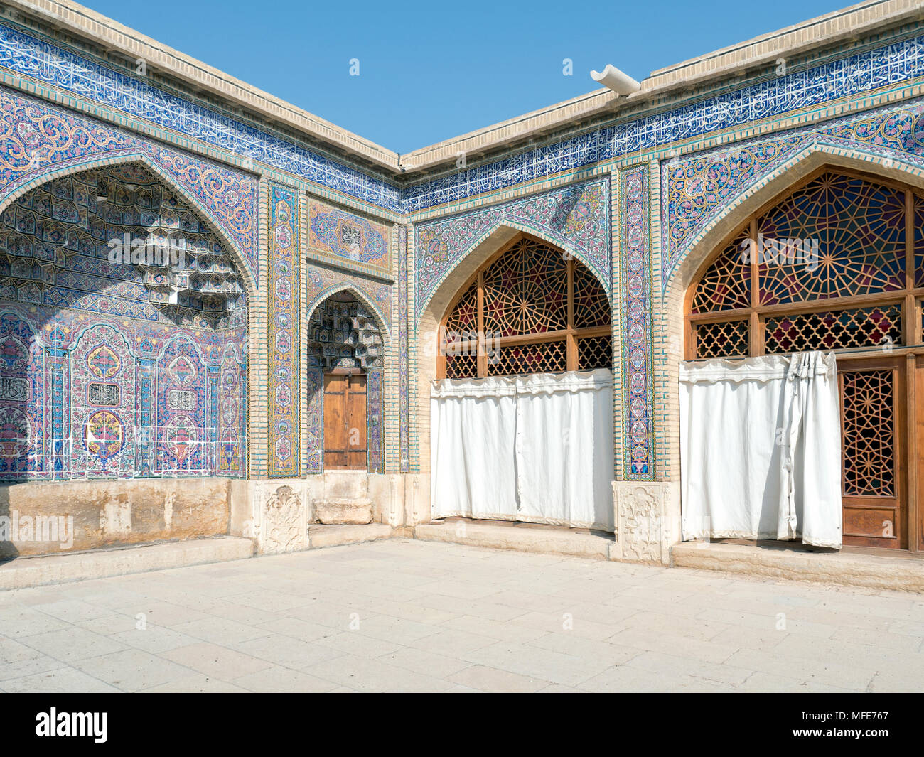 Nasir ol-Molk Mosque inner courtyard, Shiraz, Iran. - Stock Image