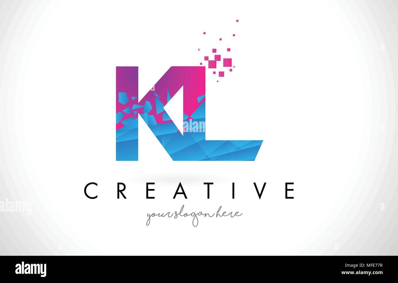 KL K L Letter Logo with Broken Shattered Blue Pink Triangles Texture Design Vector Illustration. - Stock Vector