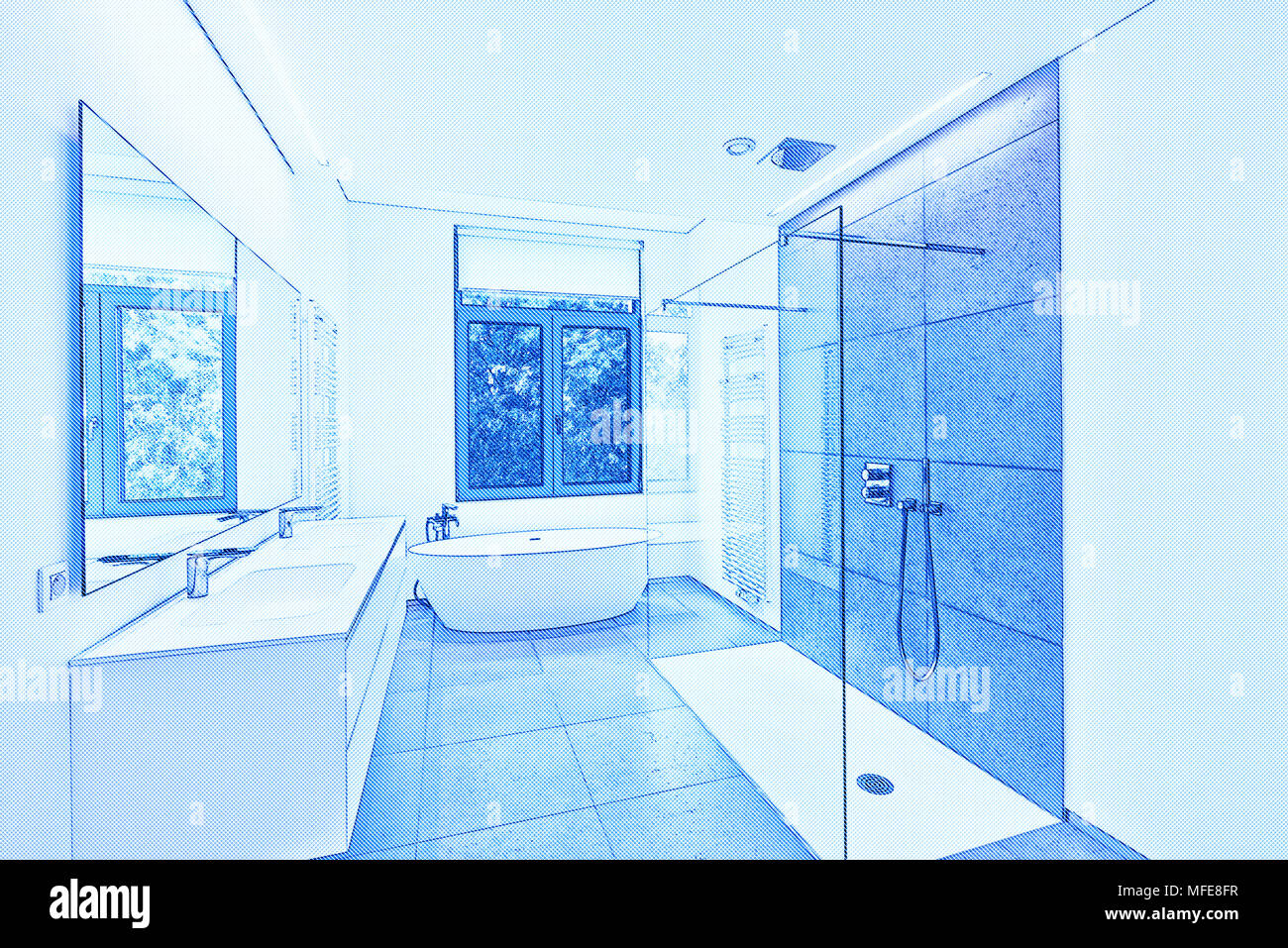 Sketch Bathtub Bathroom Stock Photos & Sketch Bathtub Bathroom Stock ...