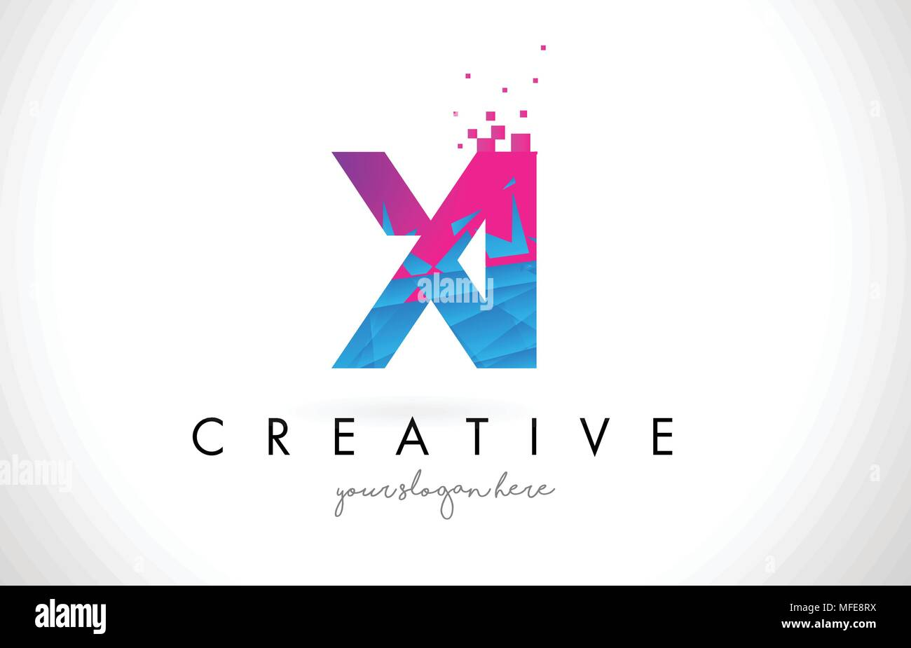 XI X I Letter Logo with Broken Shattered Blue Pink Triangles Texture Design Vector Illustration. - Stock Vector