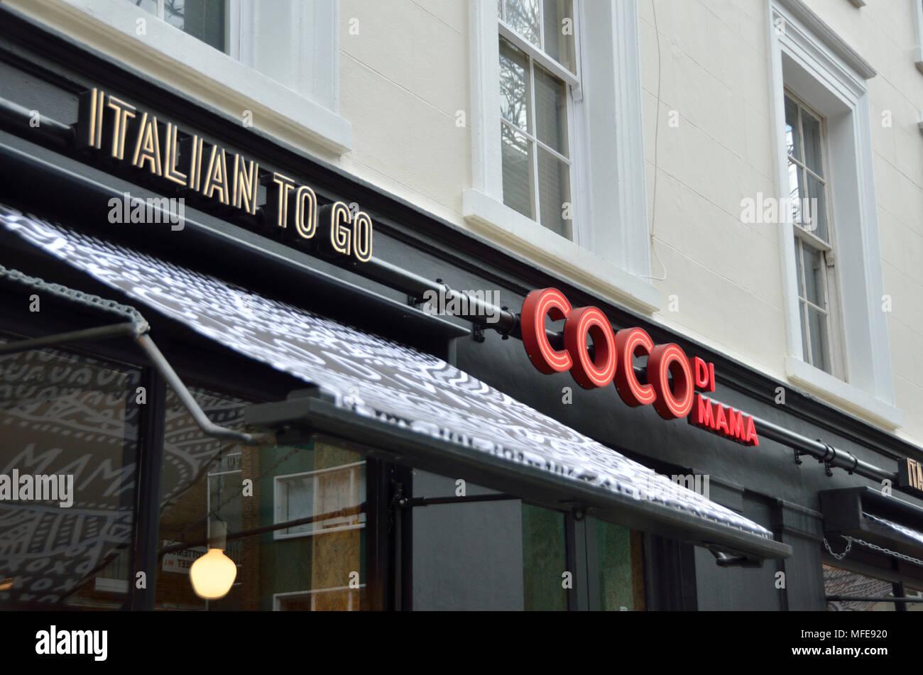 Coco di Mama takeaway in Tottenham Street, Fitzrovia, London, UK. - Stock Image