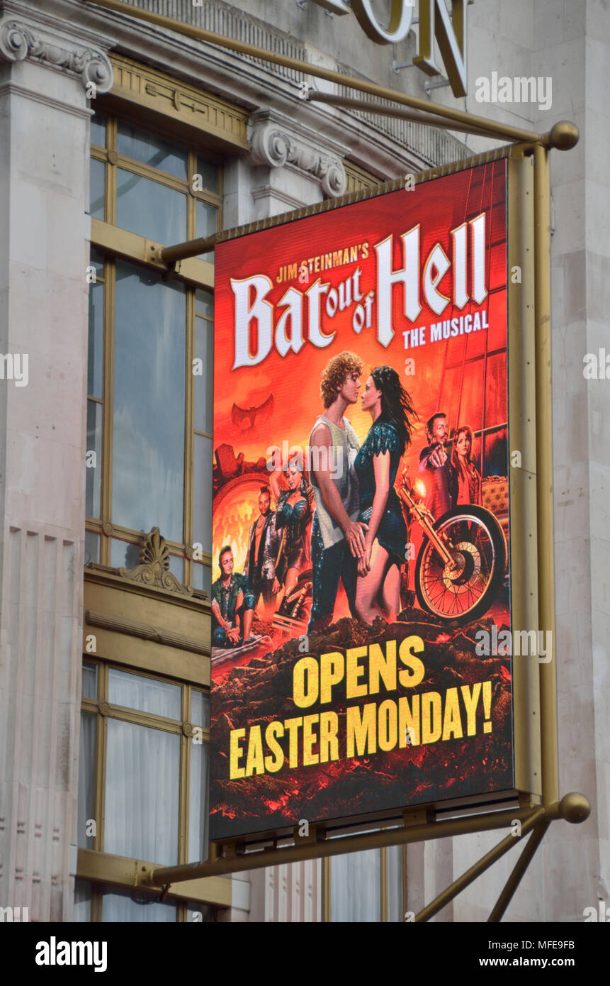 Bat Out of Hell musical billboard outside a theatre, London, UK. - Stock Image