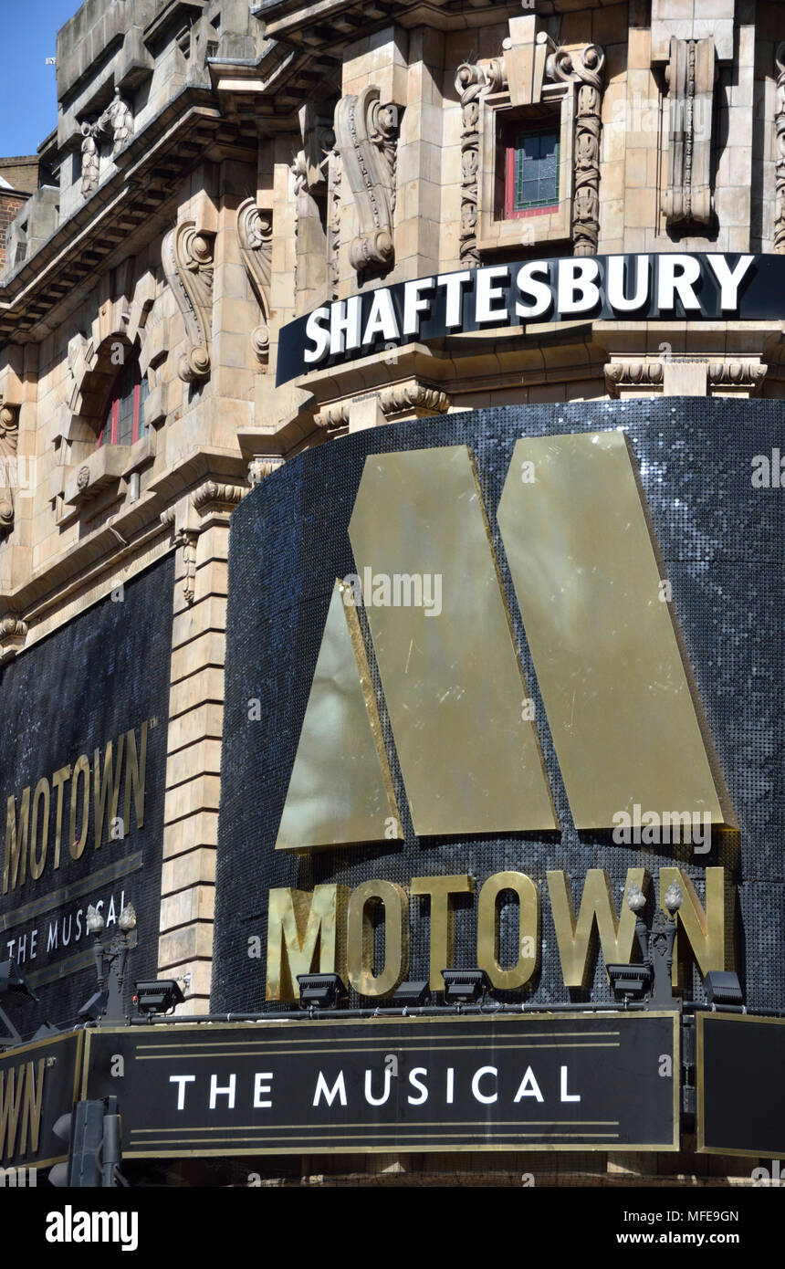 Motown The Musical billboard outside the Shaftesbury Theatre, Covent Garden, London, UK. - Stock Image