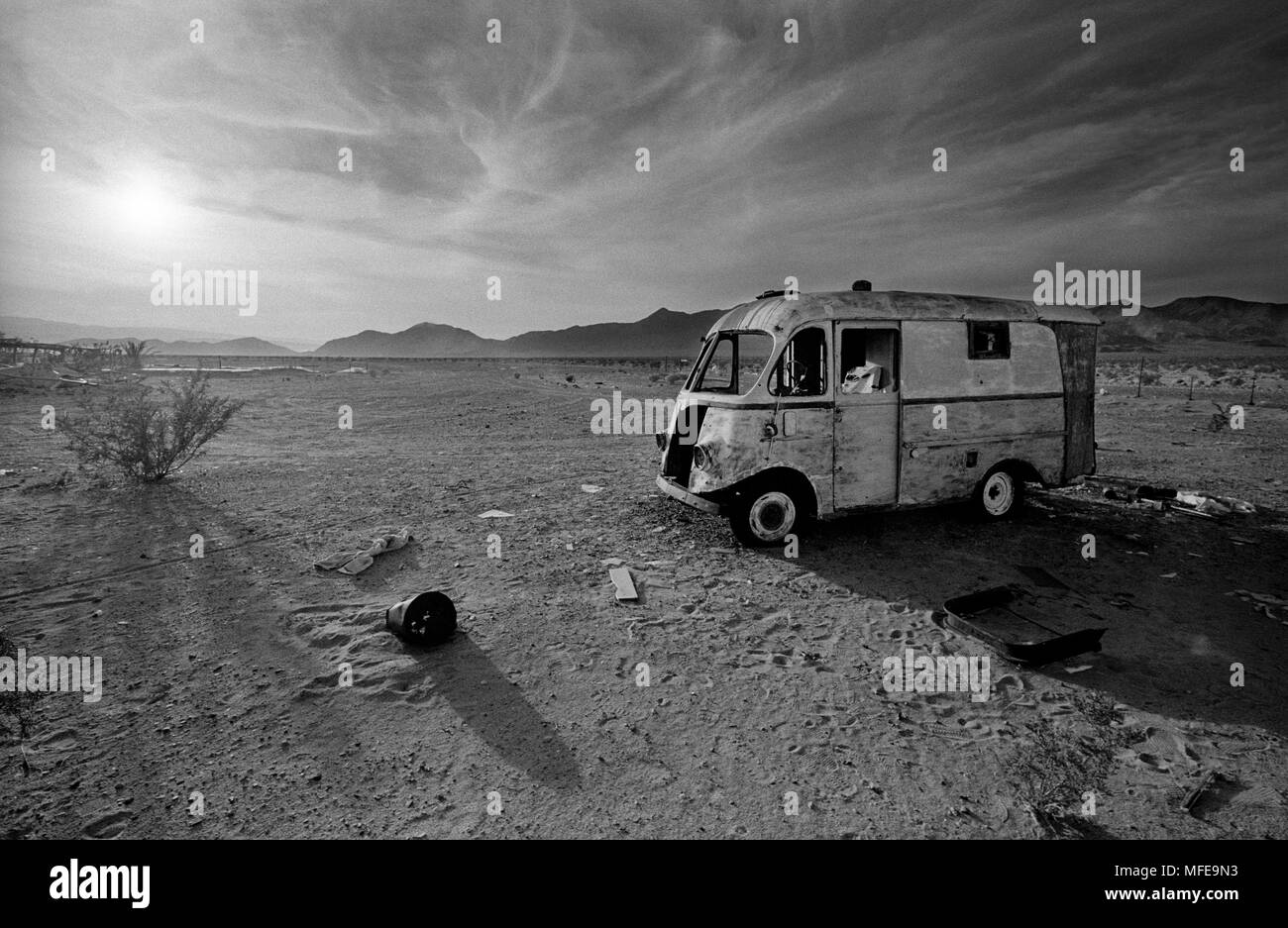 Death Valley,California,USA. Wreckage of a camper van in Death Valley, California,USA. COPYRIGHT PHOTOGRAPH BY BRIAN HARRIS  © 07808-579804 - Stock Image