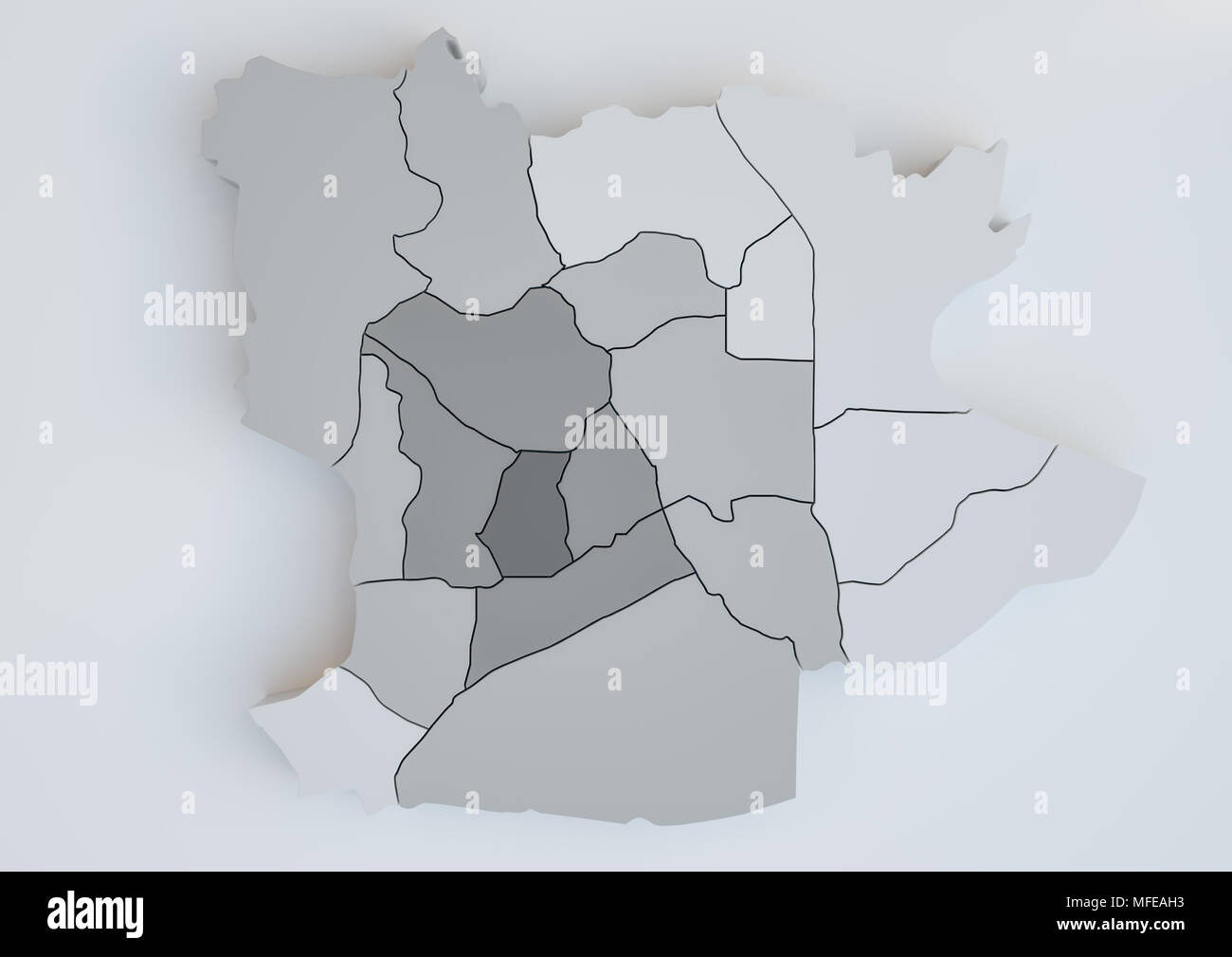 Krefeld and his districts -- 3D Rendering - Stock Image