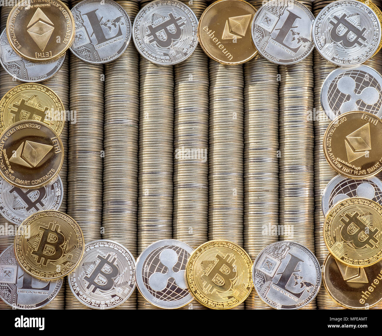 Silver Gold Crypto coins Ethereum ETH, Ripple XRP, Litecoin