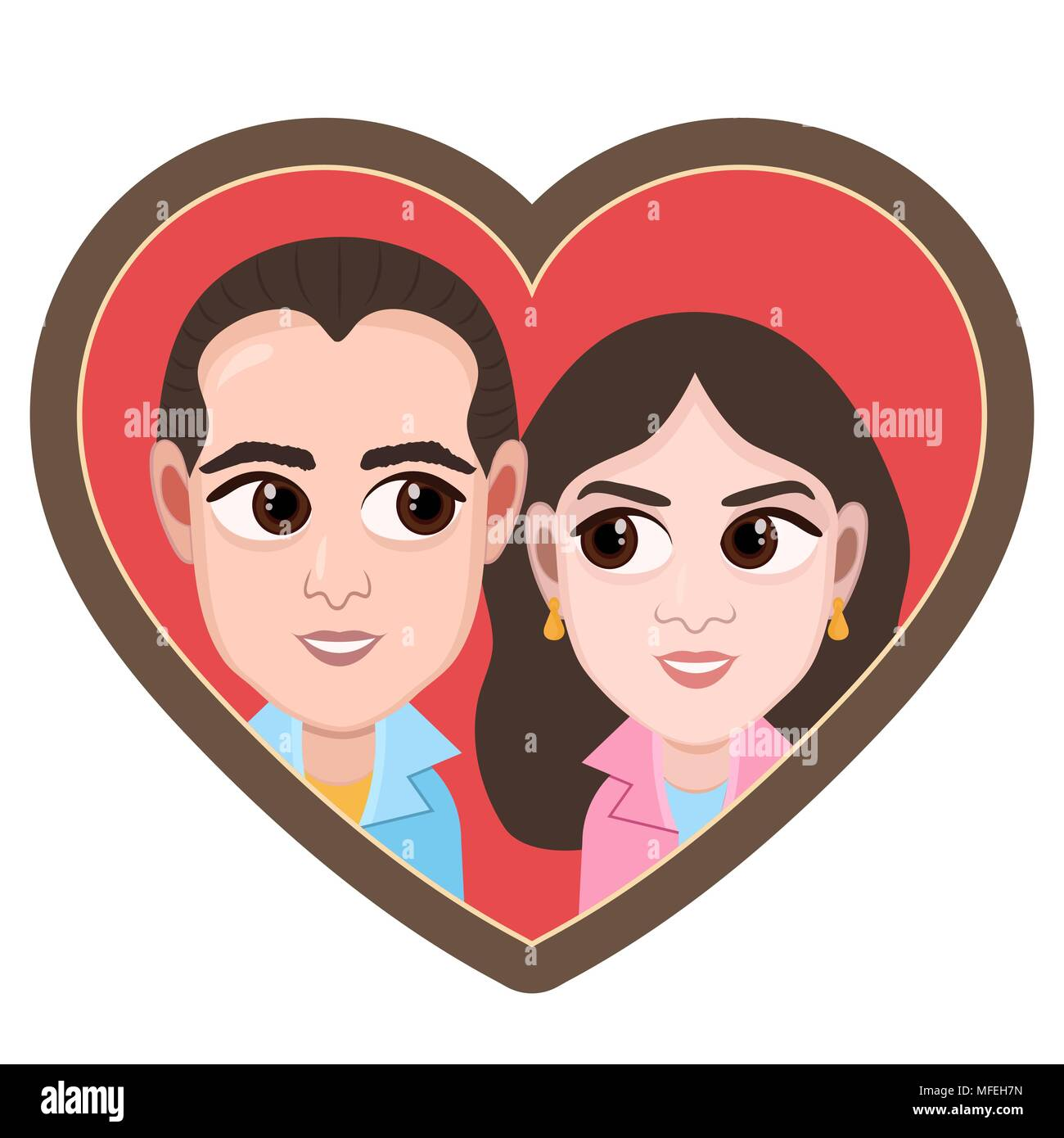 Cartoon Character Vector Drawing Portrait Lovers Couple Boy And Girl Icon Sticker Loving Man And Woman With Big Eyes Looking At Each Other In Hear
