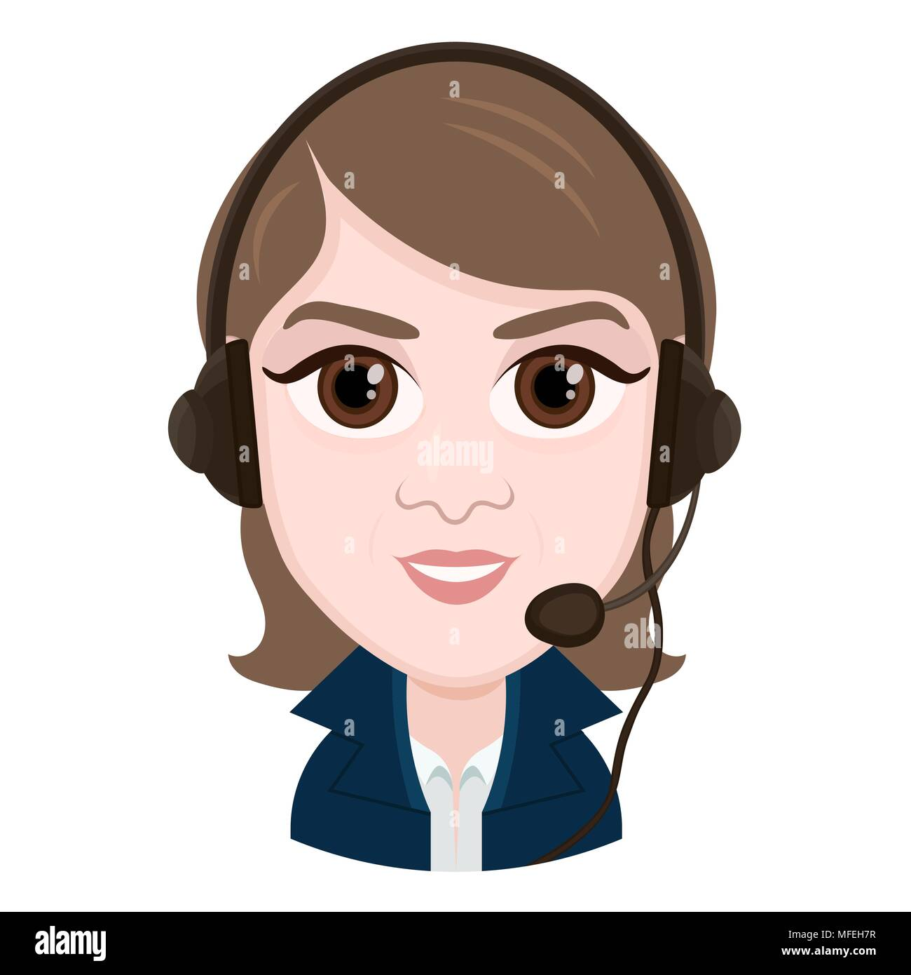 Cartoon character vector drawing portrait girl call center operator smile emotion icon sticker woman with big brown eyes with a headset headphon