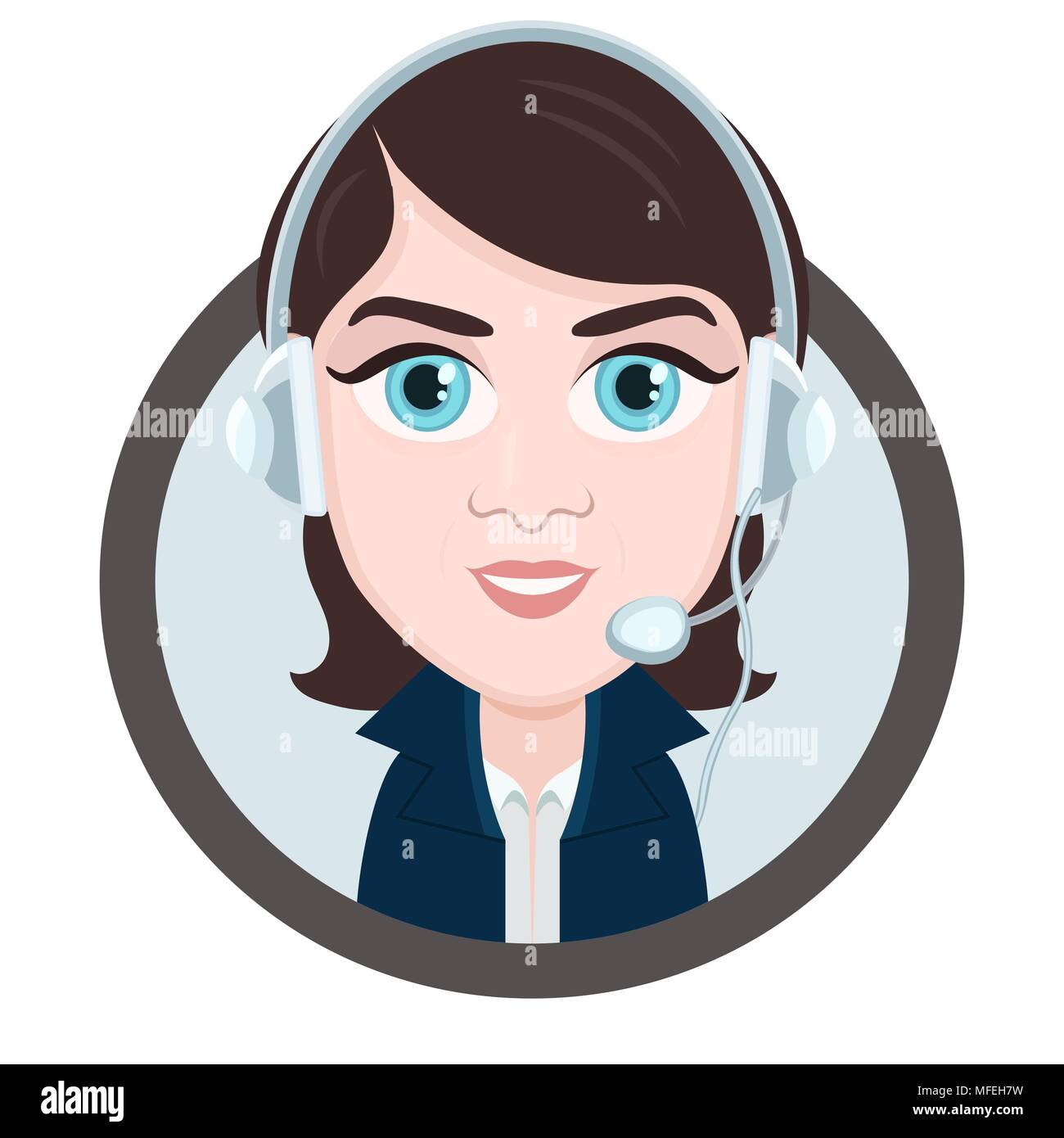 Cartoon character vector drawing portrait girl call center operator icon sticker woman brunette with big eyes with a headset headphones and micro