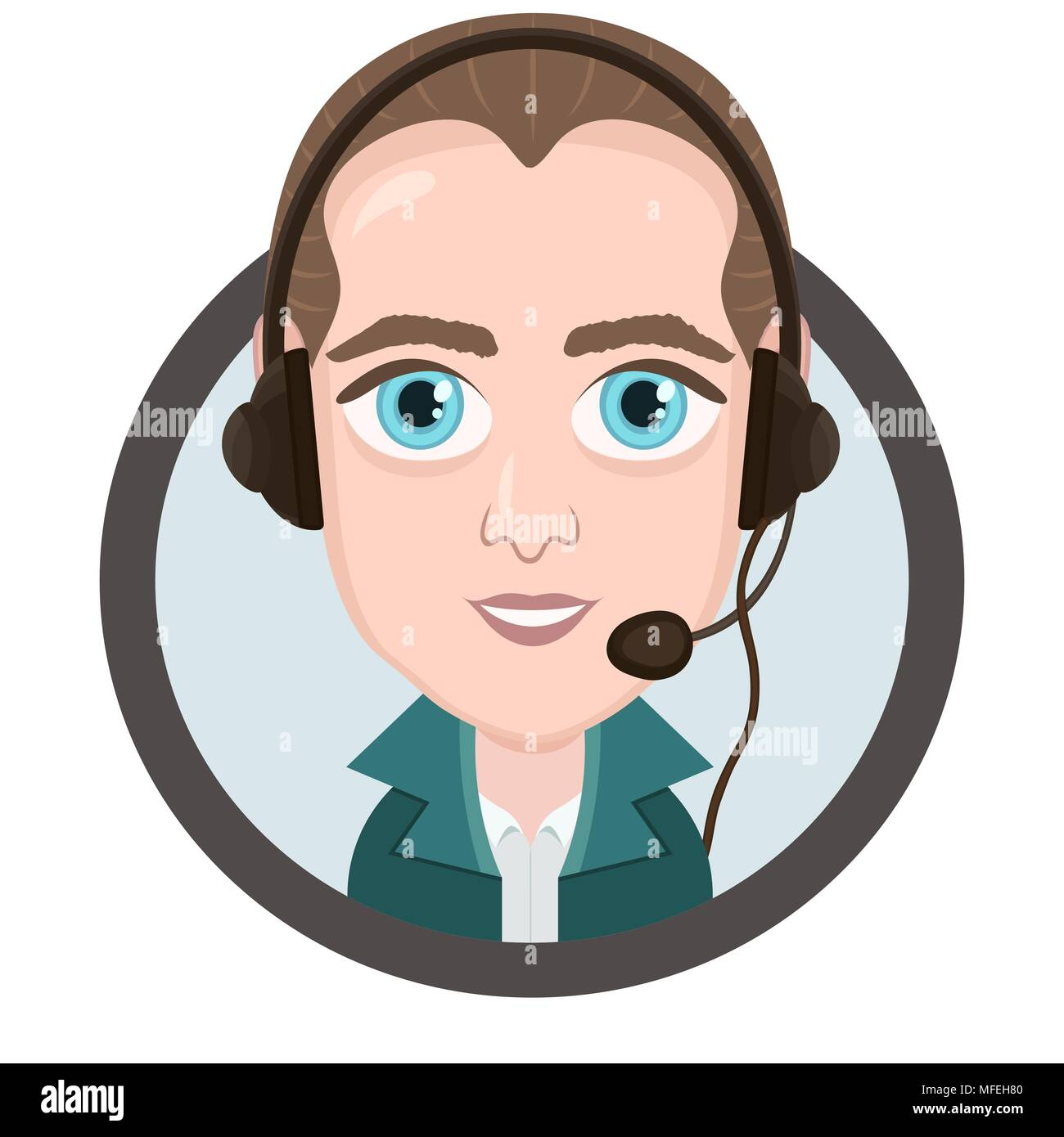 Cartoon character vector drawing portrait boy call center operator icon sticker man with big eyes with a headset headphones and microphone in rou