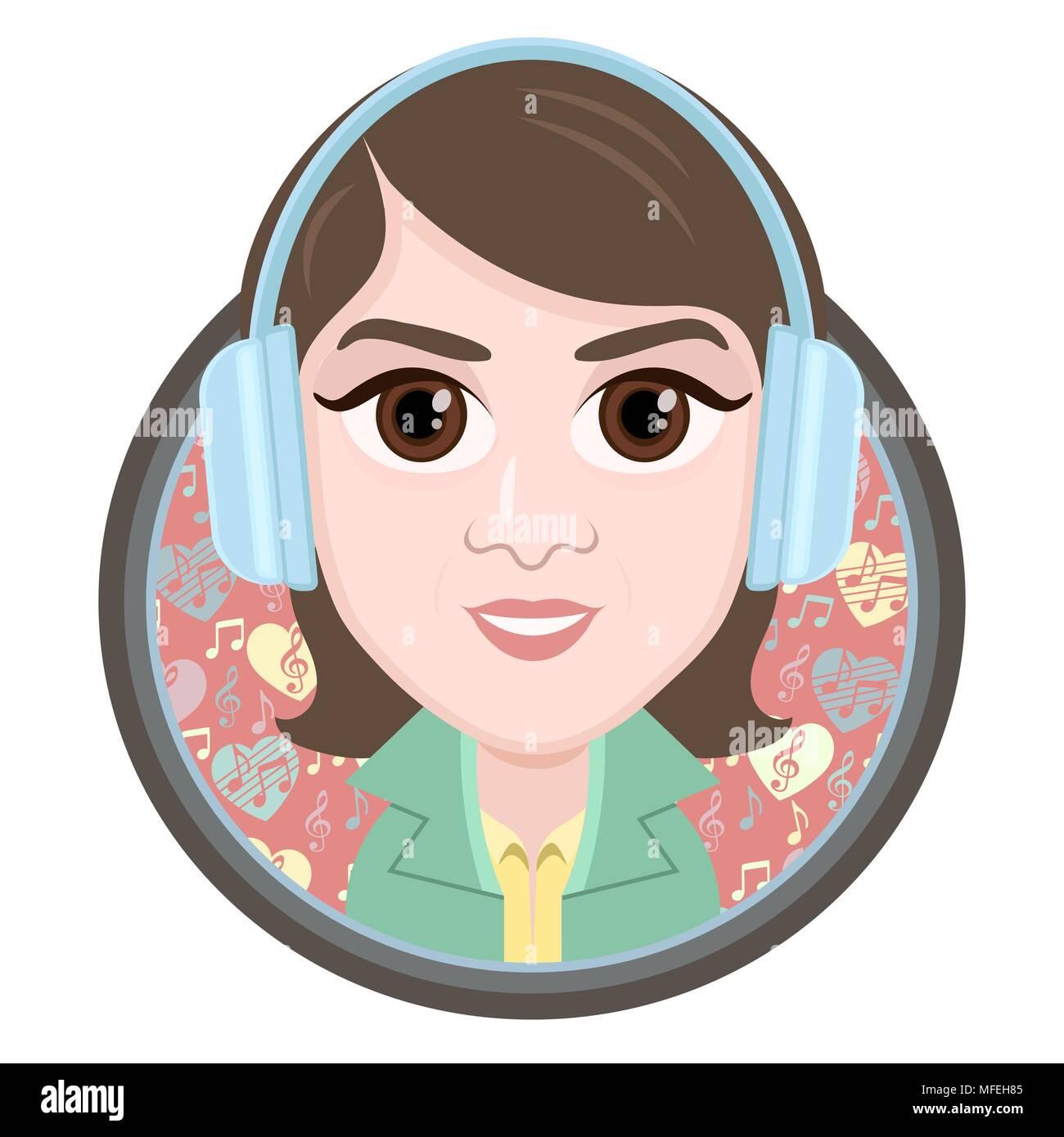 Cartoon Character Vector Drawing Portrait Girl In Headphones