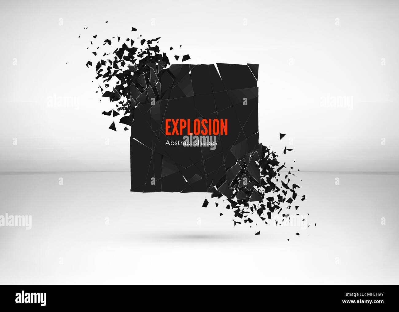 Shatter and destruction dark square effect. Abstract cloud of pieces and fragments after explosion. Vector illustration isolated on gray background - Stock Vector