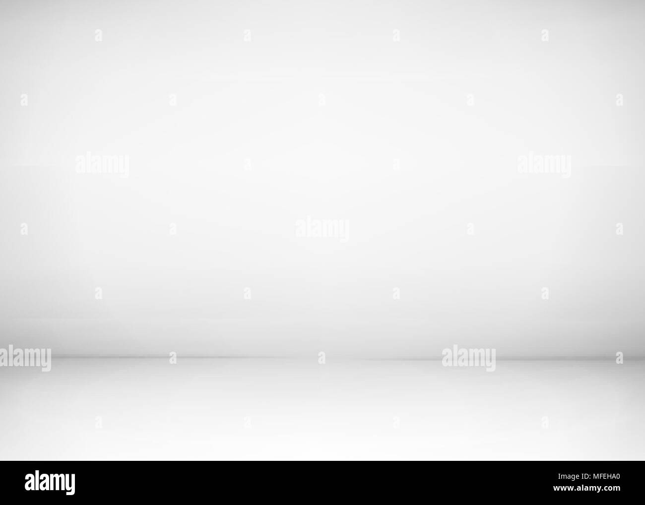 Empty studio room interior. White wall and floor background. Clean workshop for photography or presentation. Vector illustration - Stock Vector