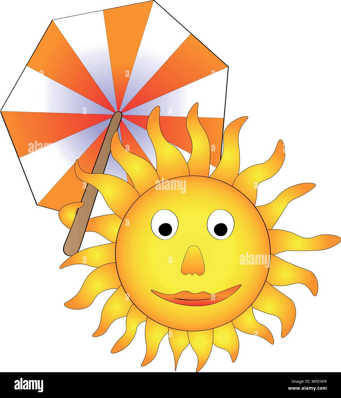 Vector illustration, happy smiling sun with parasol, funny concept of summer's coming - Stock Vector