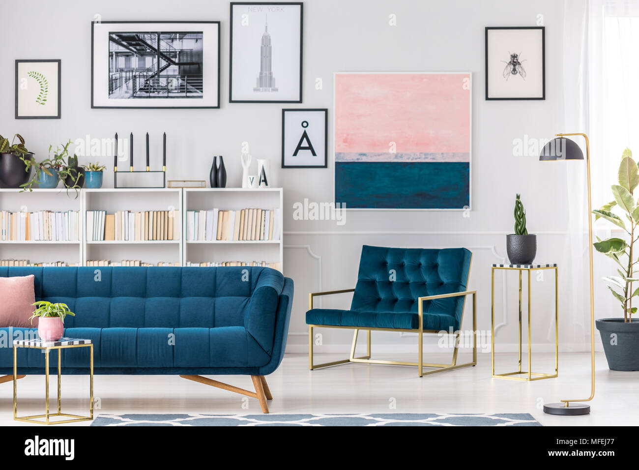 Pleasant Modern Living Room Interior With Blue Couch Armchair Short Links Chair Design For Home Short Linksinfo
