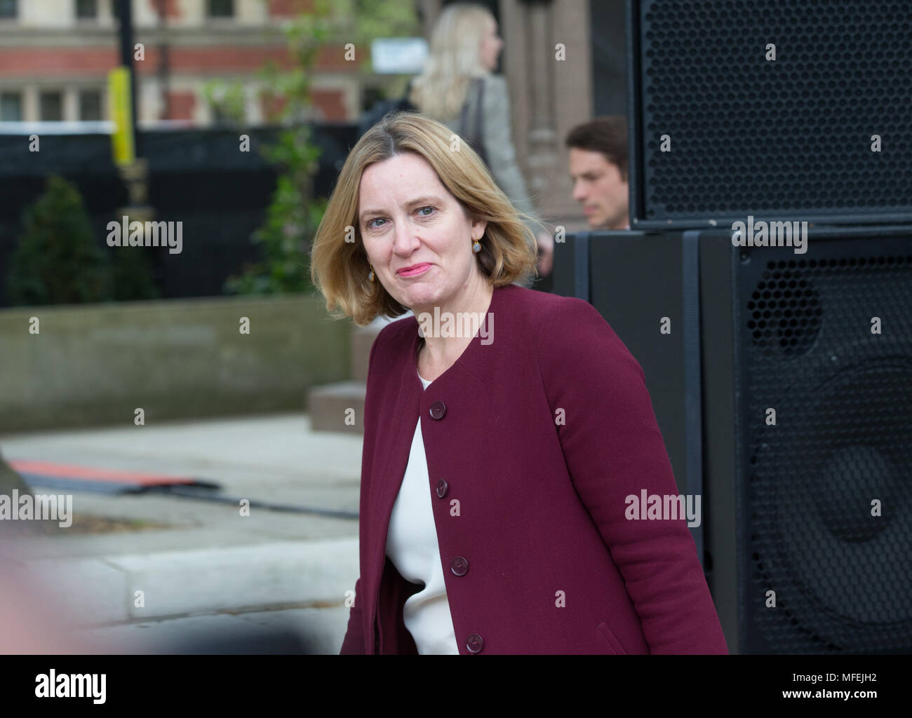Former Home secretary, Amber Rudd, at the unveiling of the Statue of Millicent Fawcett to celebrate 100 years of women's suffrage. - Stock Image