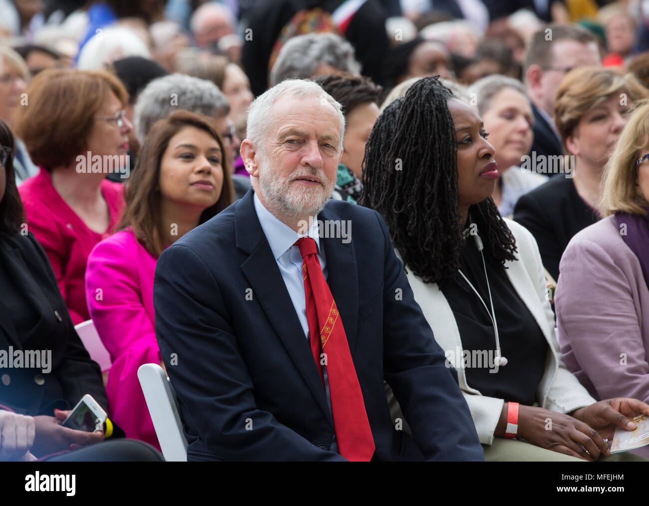Leader of the Labour Party, Jeremy Corbyn, at the unveiling of the Statue of Millicent Fawcett to celebrate 100 years of women's suffrage. - Stock Image