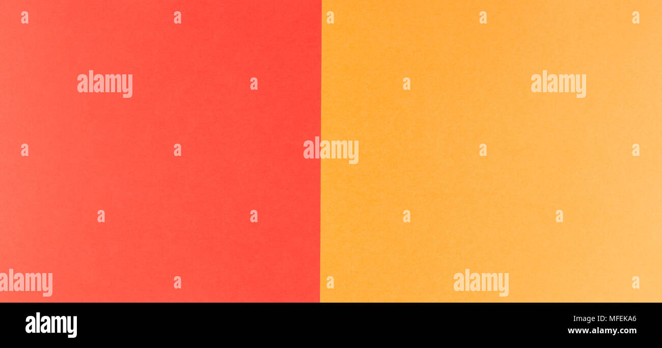 Two tone of red and orange paper background - Stock Image