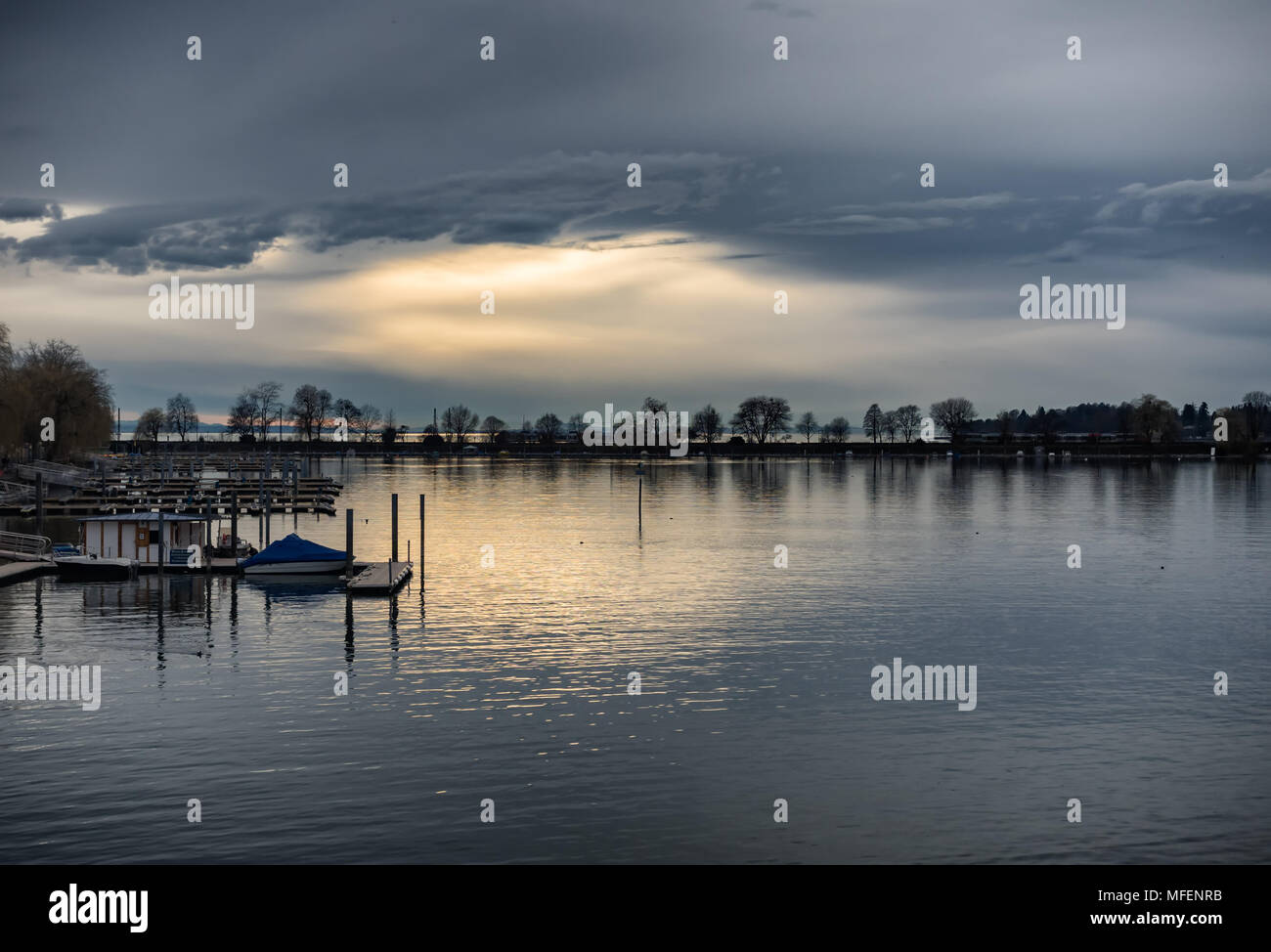 Sunset at the Bodensee in Lindau, Germany Stock Photo