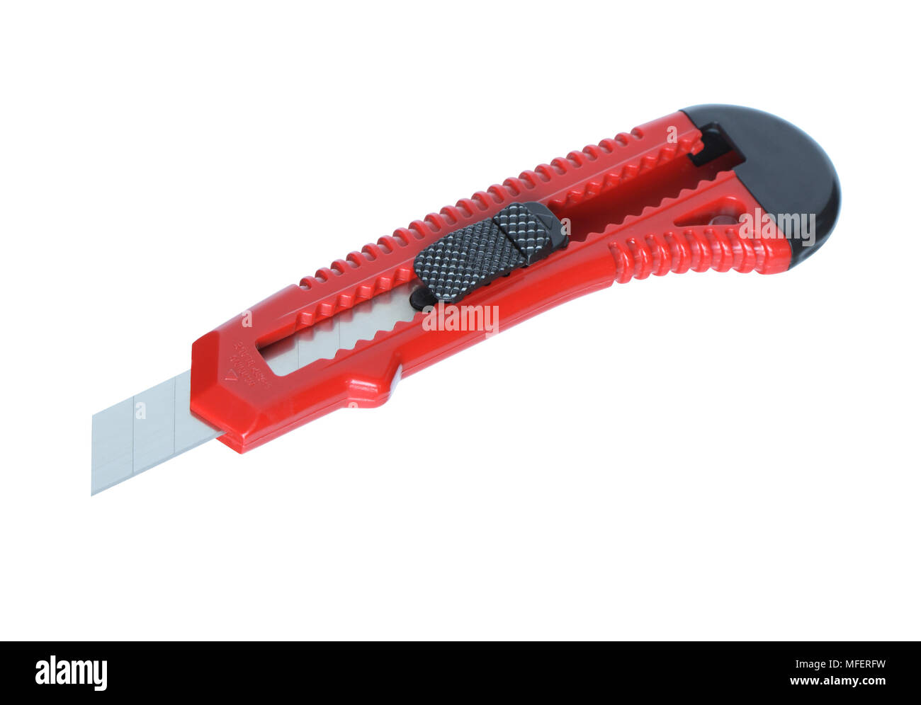 Modern red paper knife isolated on white background with clipping path - Stock Image