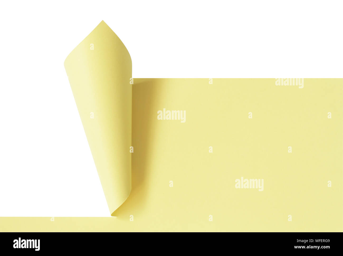 Background made from blank yellow cutting paper sheet. Isolated on white with clipping path - Stock Image