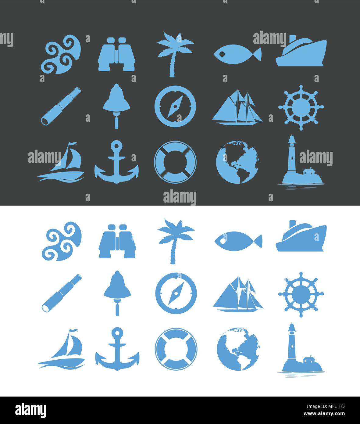 Big set of Nautical icons for Vacation and Travel - Stock Vector