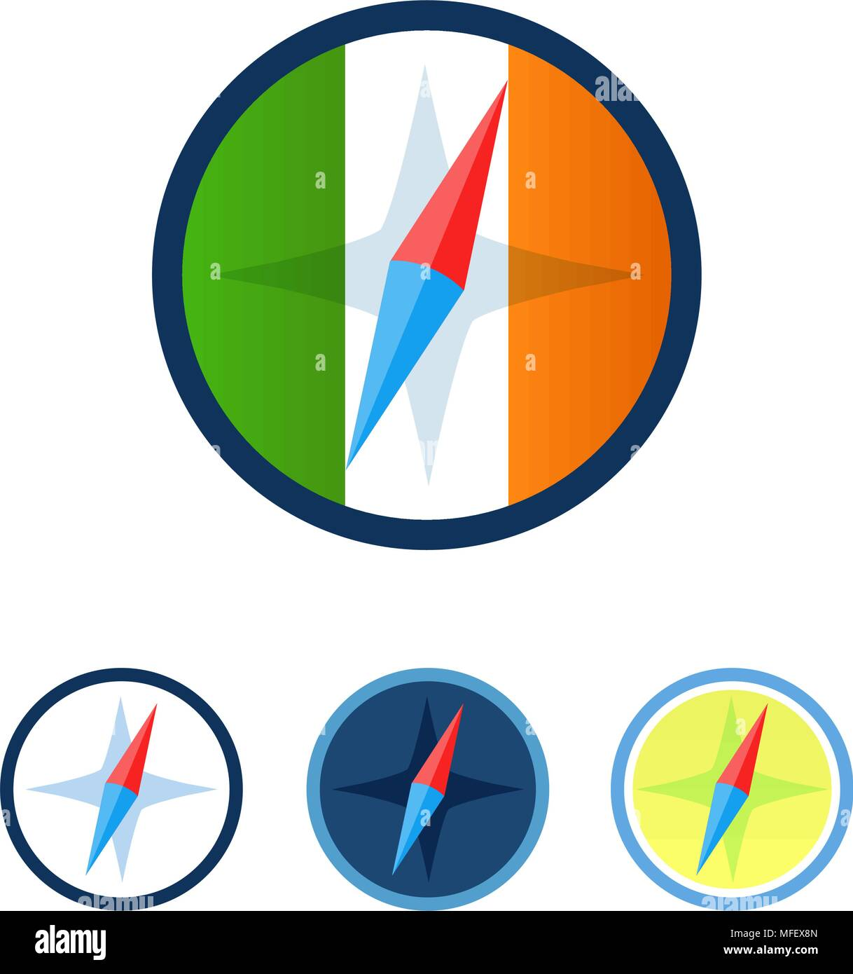 Set of Compasses - Stock Vector