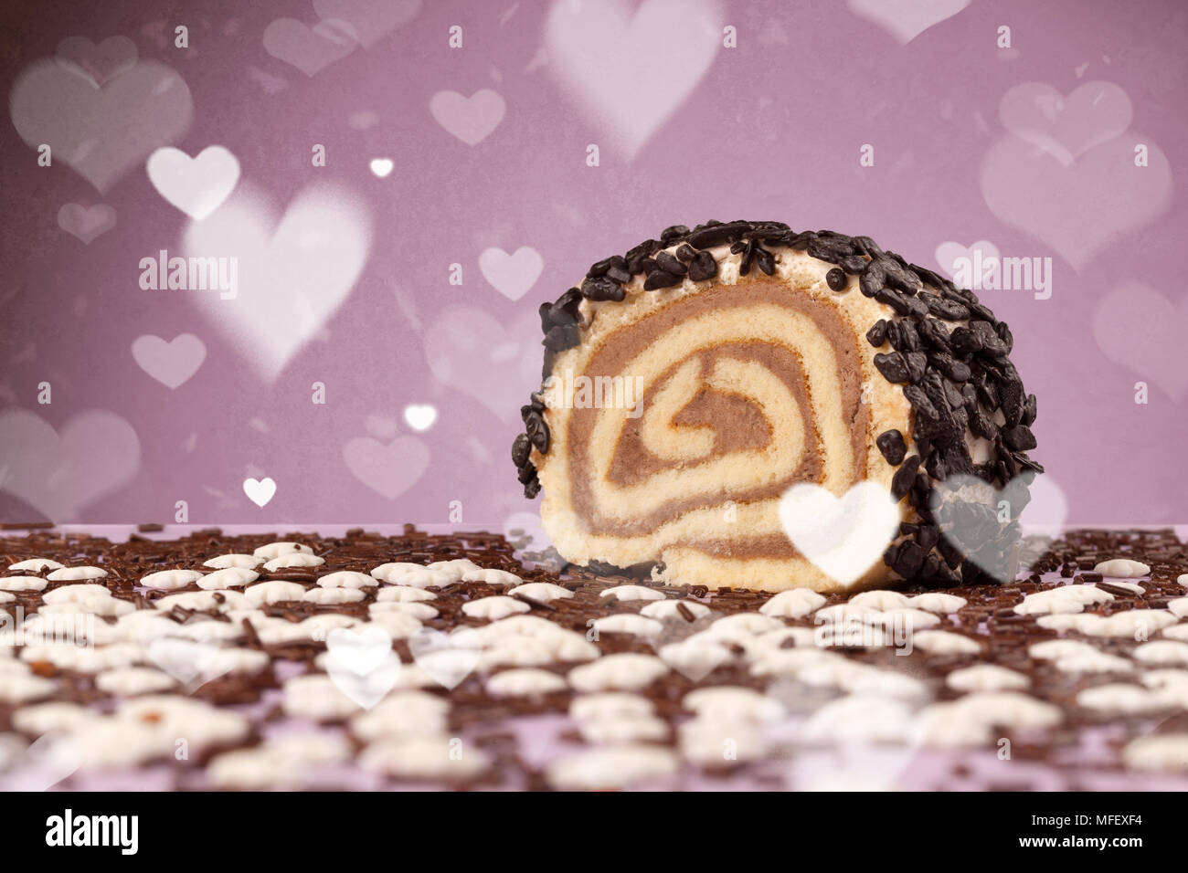Delicious Pretty Party Cakes With Heart Shape Symbols On Colorful
