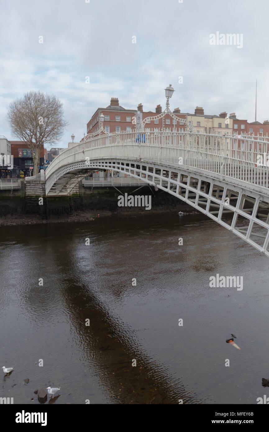 Halpenny Bridge Closeup, Dublin, Ireland, Overcast Spring Morning - Stock Image